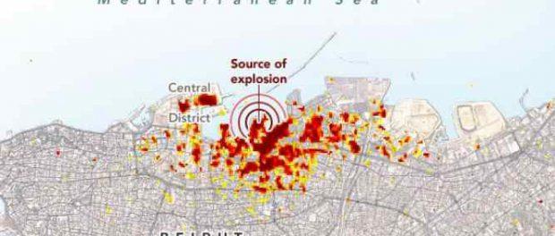 Появилась карта повреждения Бейрута